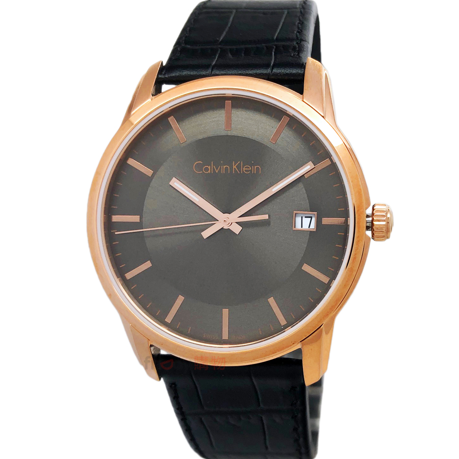 Calvin Klein CK K5S316C3 經典永恆 薄型玫瑰金框 黑色壓紋皮帶 男錶