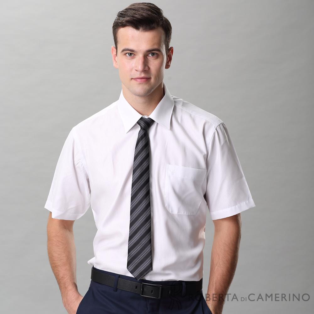 ROBERTA諾貝達 台灣製 免燙 商務都會 條紋短袖襯衫 白色