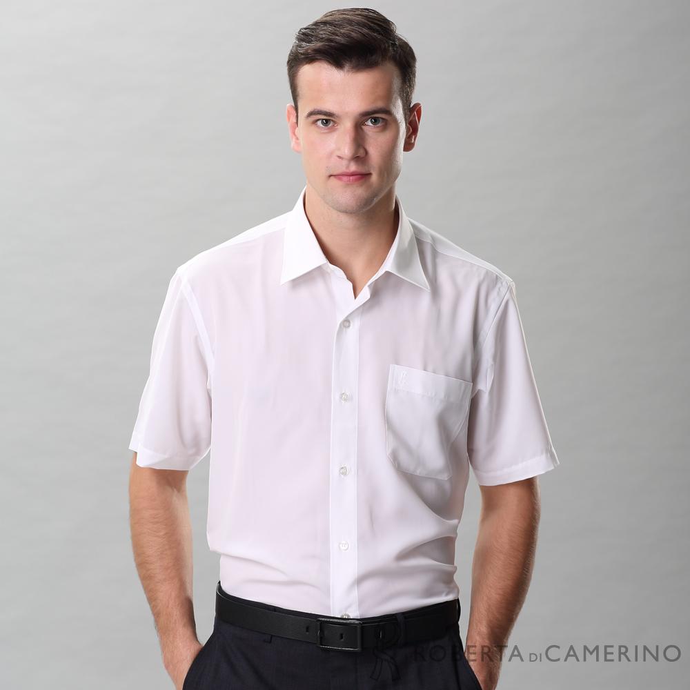 ROBERTA諾貝達 台灣製 進口素材 合身版 上班族必備 速乾舒適短袖襯衫 白色