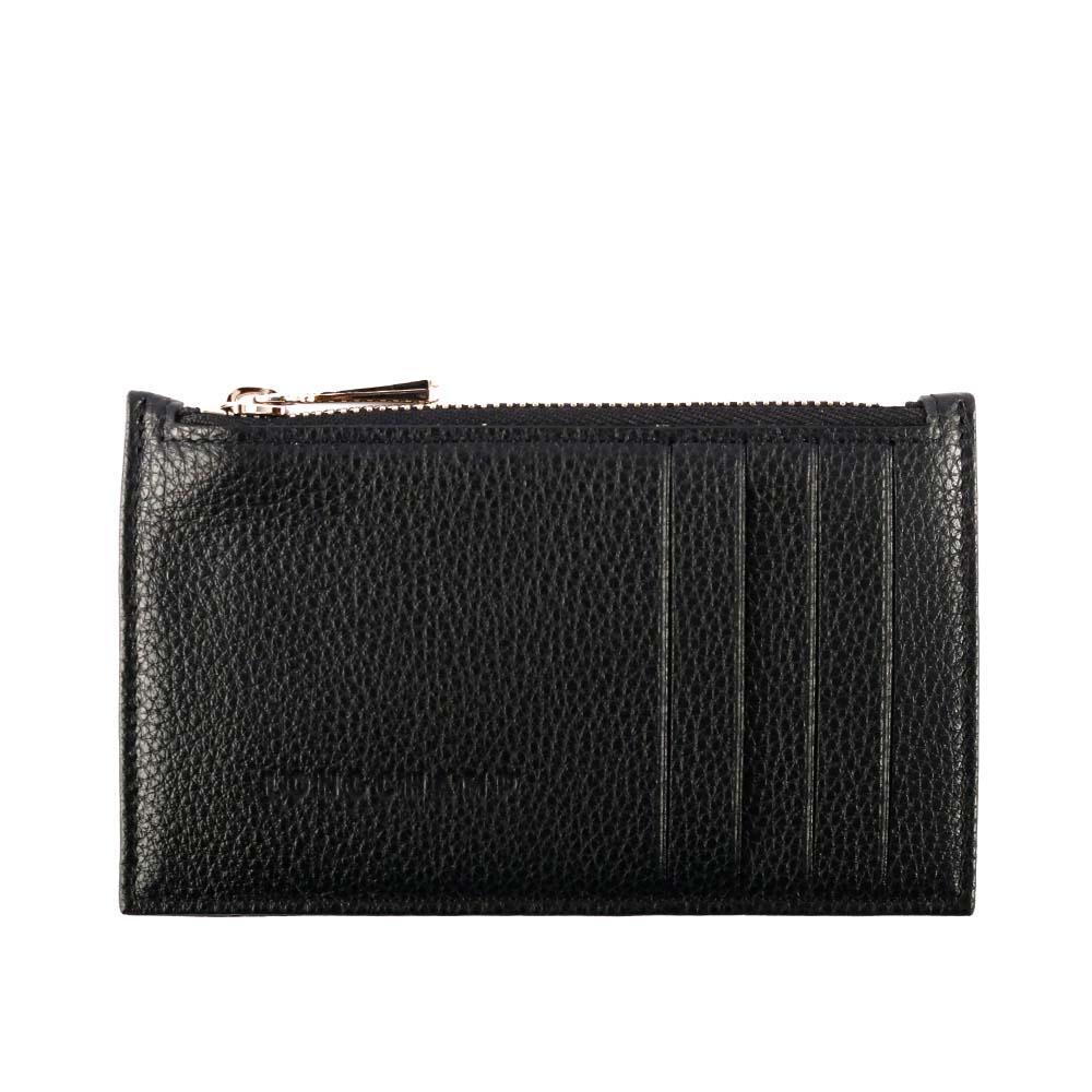 【LONGCHAMP】LE FOULONNE牛皮荔枝紋拉鍊卡片夾(黑色) 3613021047