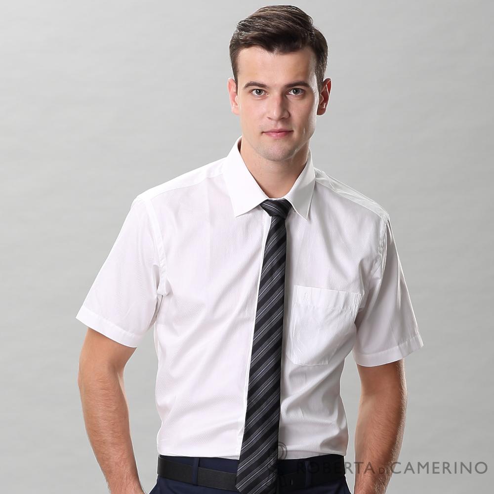 ROBERTA諾貝達 進口素材 台灣製 合身版 嚴選穿搭 純棉個性點點短袖襯衫 白色