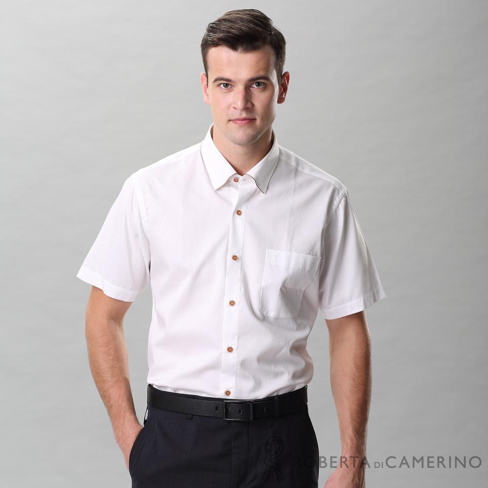 ROBERTA諾貝達 進口素材 台灣製 合身版 都會休閒 純棉短袖襯衫 白色