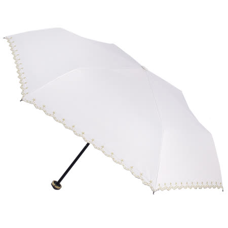 【2mm】花邊刺繡星星黑膠降溫輕量手開傘 (星曜米)