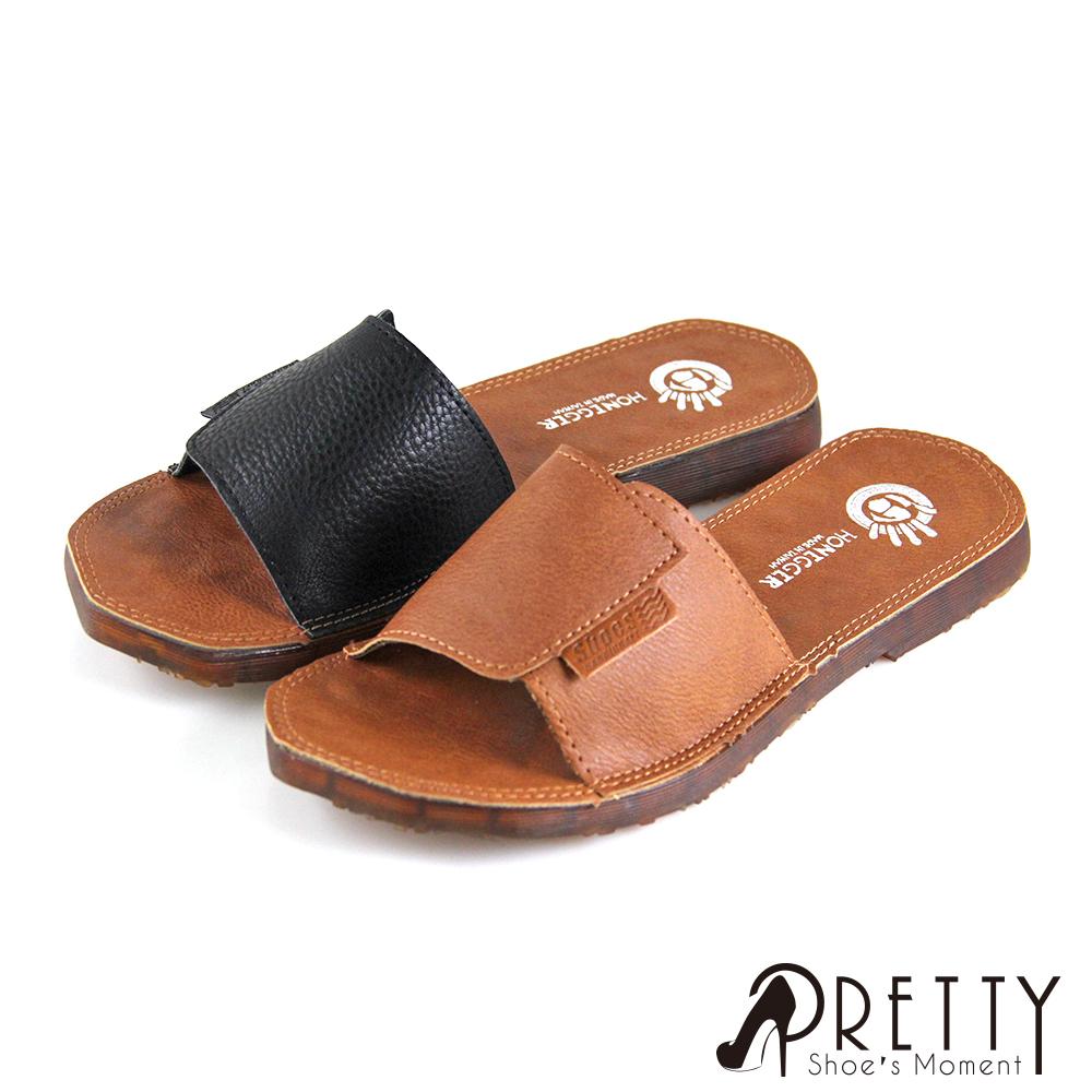 【Pretty】寬版剪裁縫線不規則鞋緣平底拖鞋