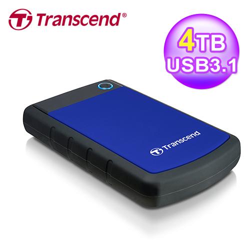 創見 StoreJet 4TB 25H3 USB3.0 2.5吋行動硬碟(TS4TSJ25H3B)-藍色