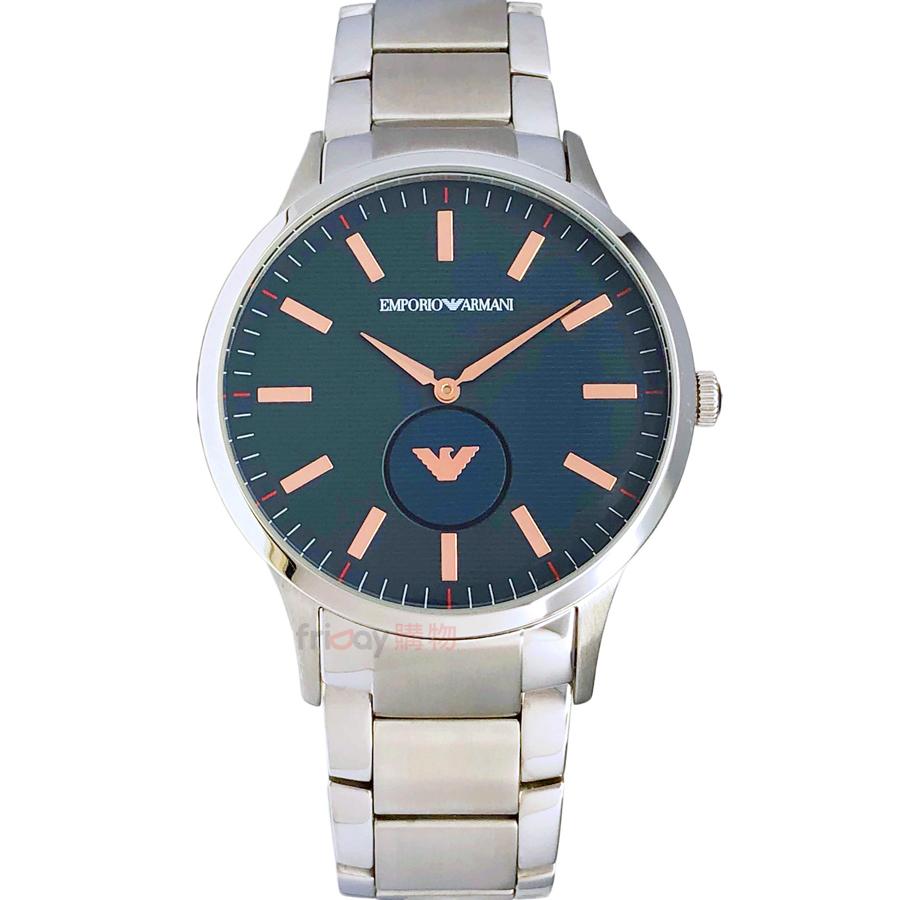 EMPORIO ARMANI 手錶 AR11137 亞曼尼 LOGO小秒盤 孔雀綠面鋼帶 男錶