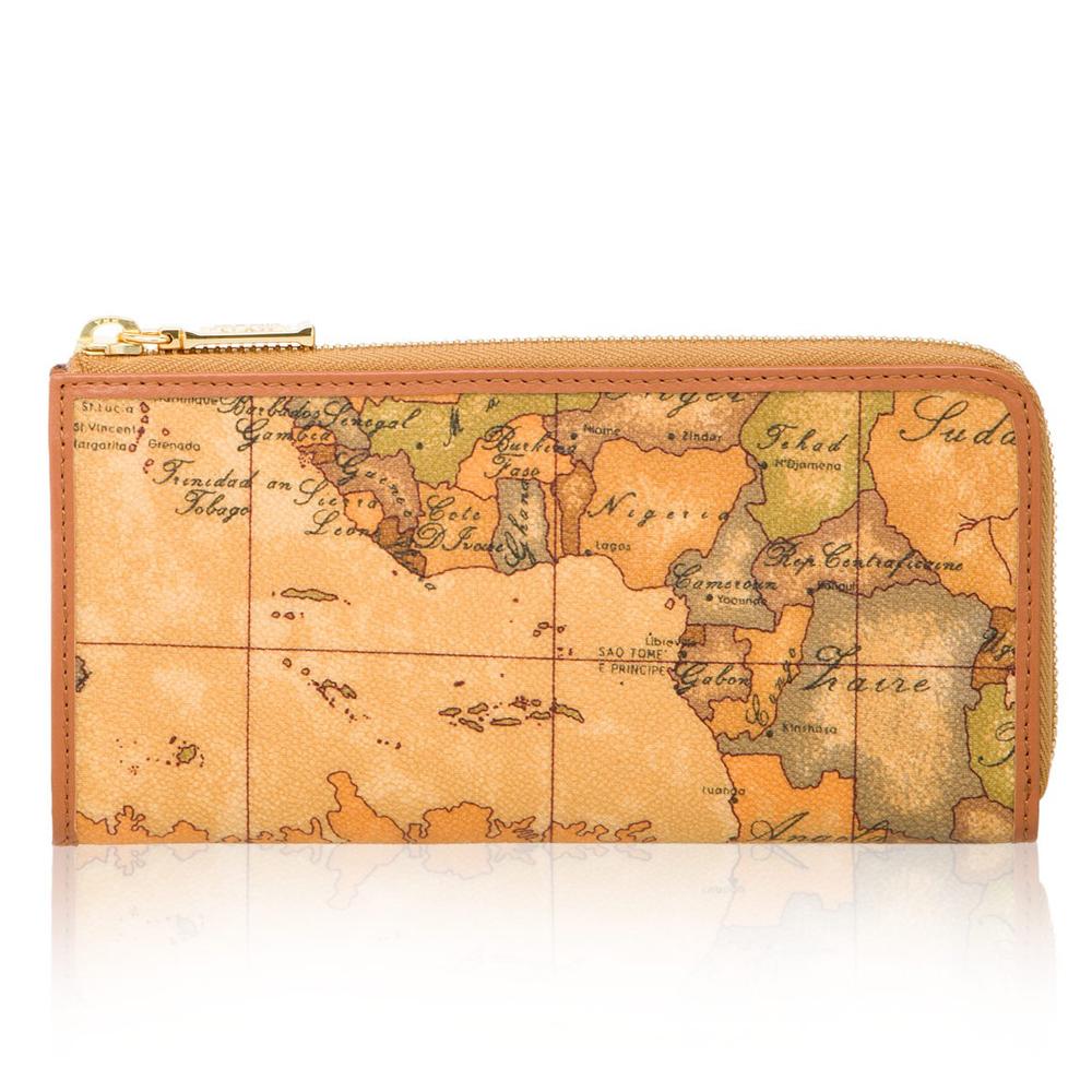 Alviero Martini 義大利地圖包 拉鍊8卡零錢長夾(地圖黃)