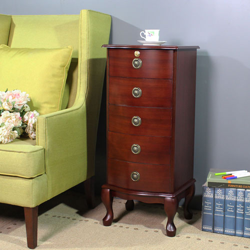 Asllie 英式古典五抽櫃/收納櫃/邊櫃/電話櫃/床頭櫃