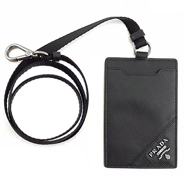 PRADA 排隊款-黑色斜紋牛皮銀色浮雕LOGO卡片證件帶
