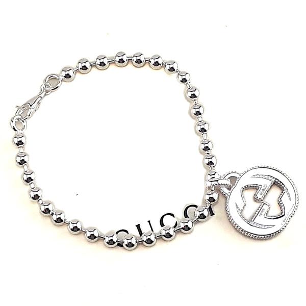 GUCCI Interlocking G 925純銀雙G墜飾珠珠手鍊