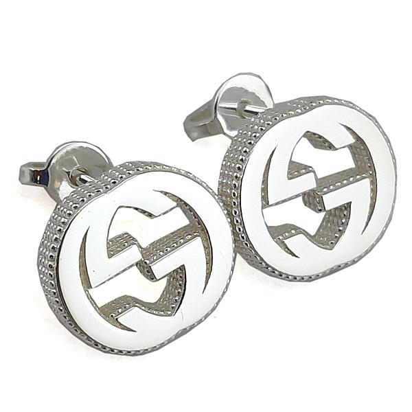 GUCCI 2019新款-925純銀-Interlocking 雙G針式耳環
