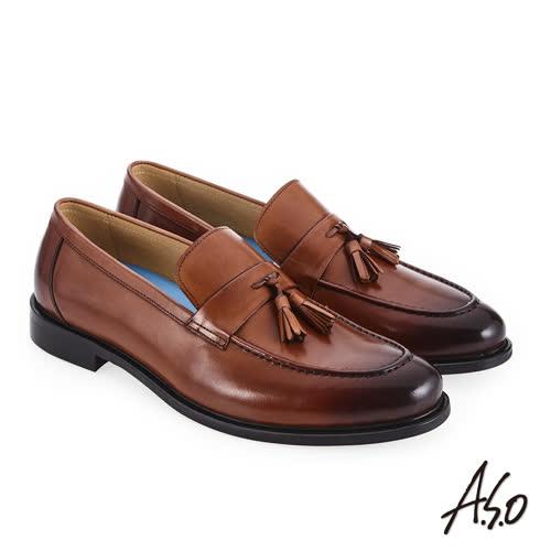 A.S.O 菁英通勤 流蘇裝飾時尚混搭真皮鞋 茶
