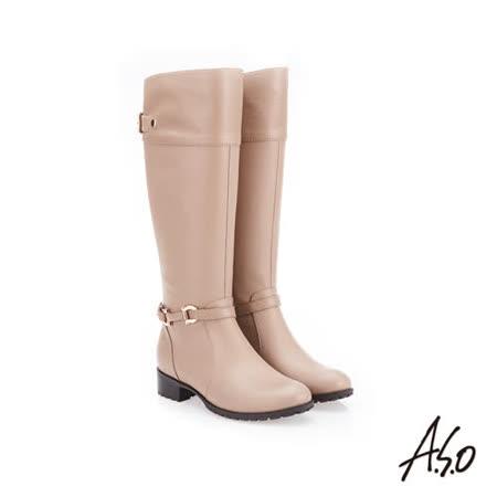 A.S.O 阿瘦 側拉鍊設計真皮長靴