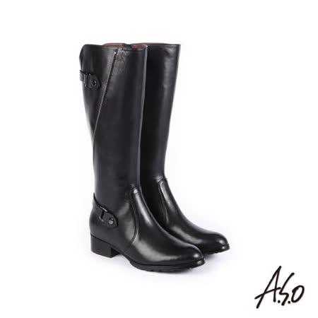A.S.O阿瘦 壓紋真皮長靴 黑
