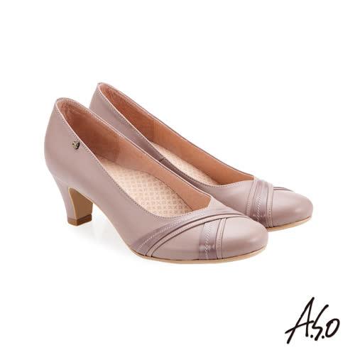 A.S.O 義式簡約 交叉裝飾鞋面高跟鞋 粉紅
