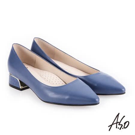 A.S.O阿瘦 金屬邊框尖頭低跟鞋