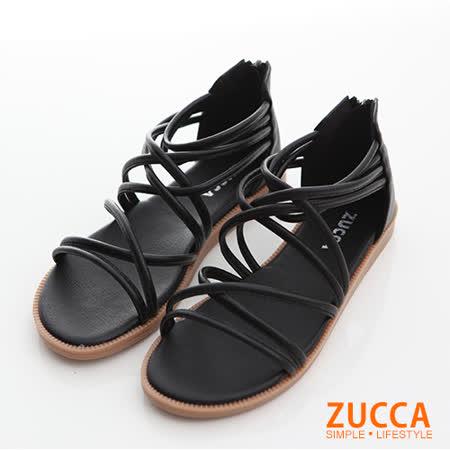 ZUCCA 繞繩交叉平底涼鞋