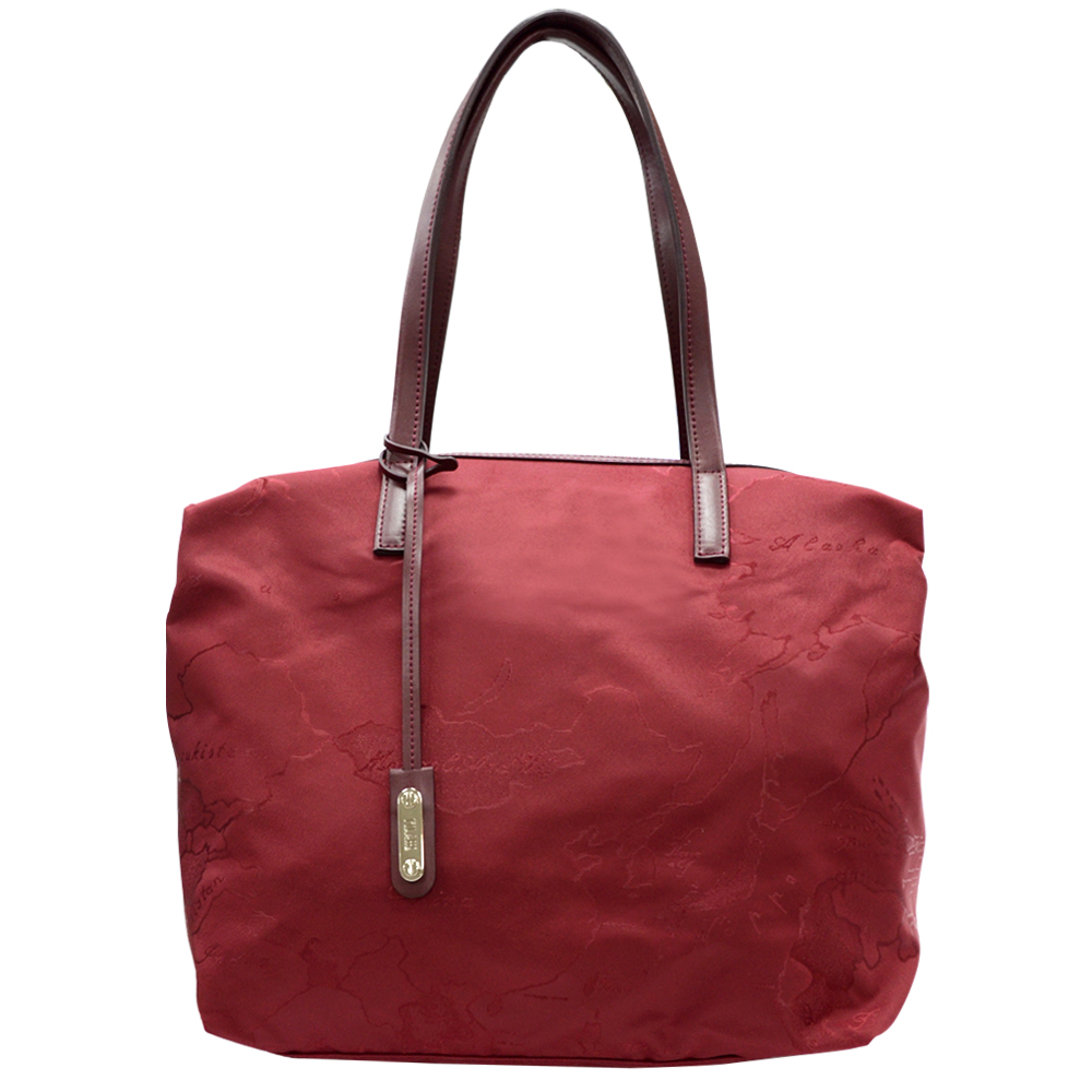 Alviero Martini 義大利地圖包  地圖尼龍肩背購物包(大)-紅
