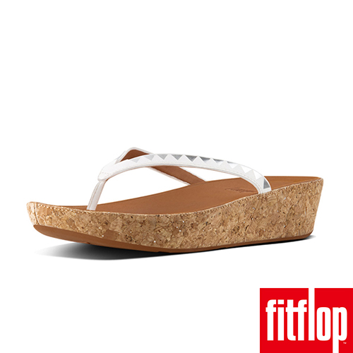 【FitFlop】LINNY TOE-THONG SANDALS ZIGZAG MIRROR 都會白/鏡面銀