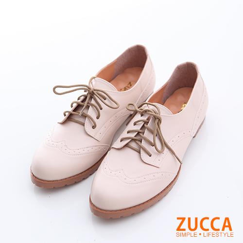 ZUCCA【z6620le】綁繩亮皮牛津紳士鞋-駝色