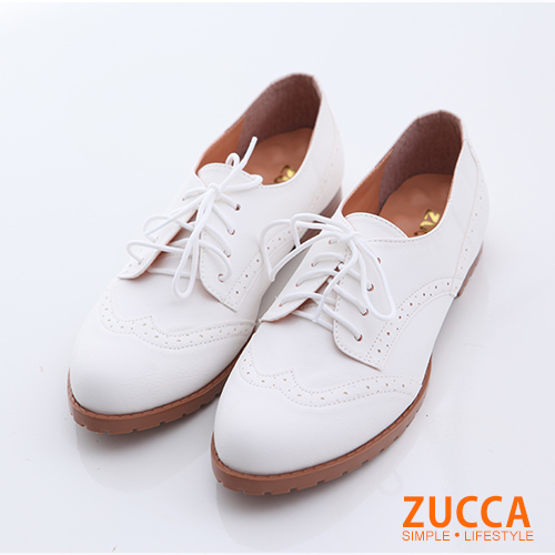 ZUCCA【z6620we】綁繩亮皮牛津紳士鞋-白色