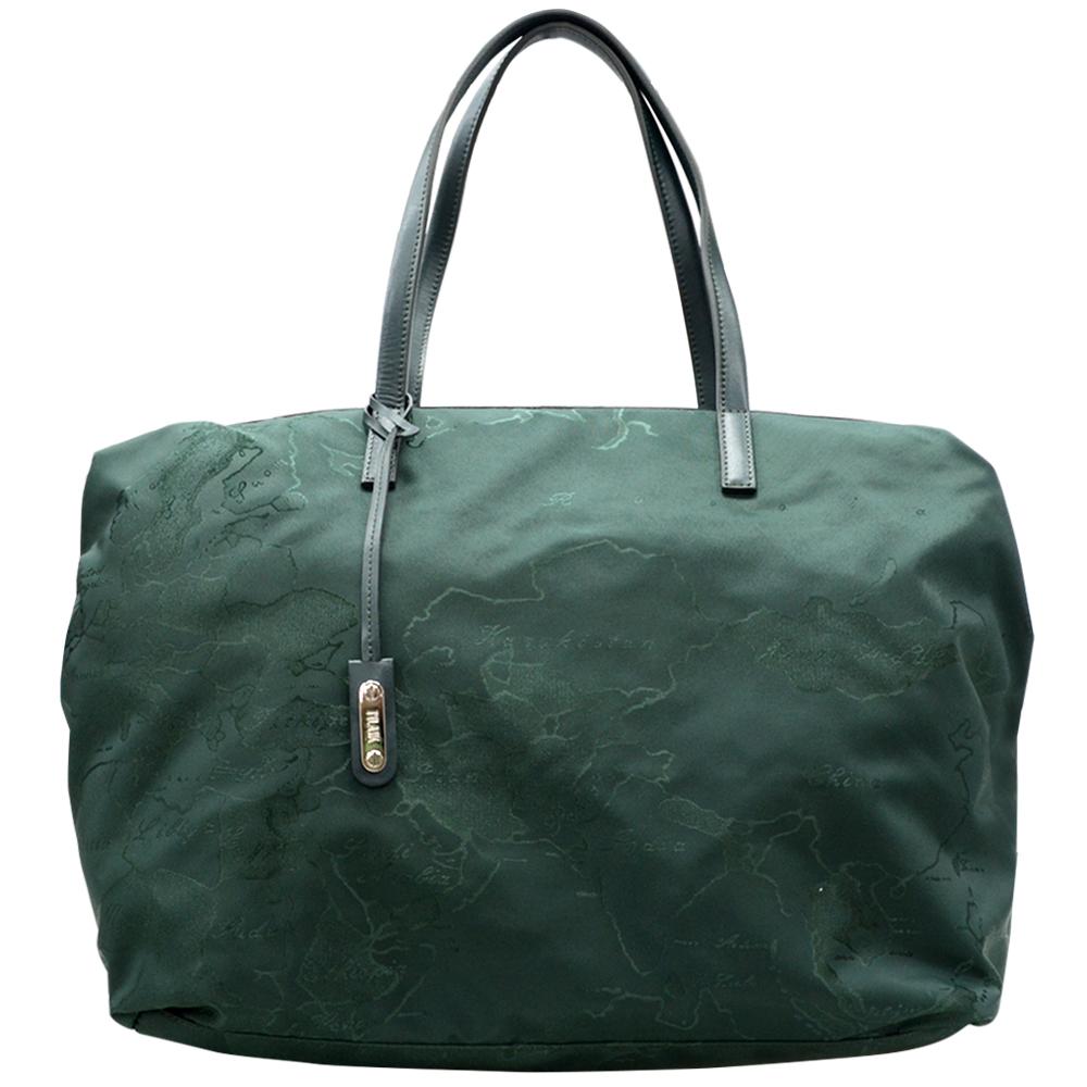 Alviero Martini 義大利地圖包  尼龍肩背購物包(特大)-森林綠