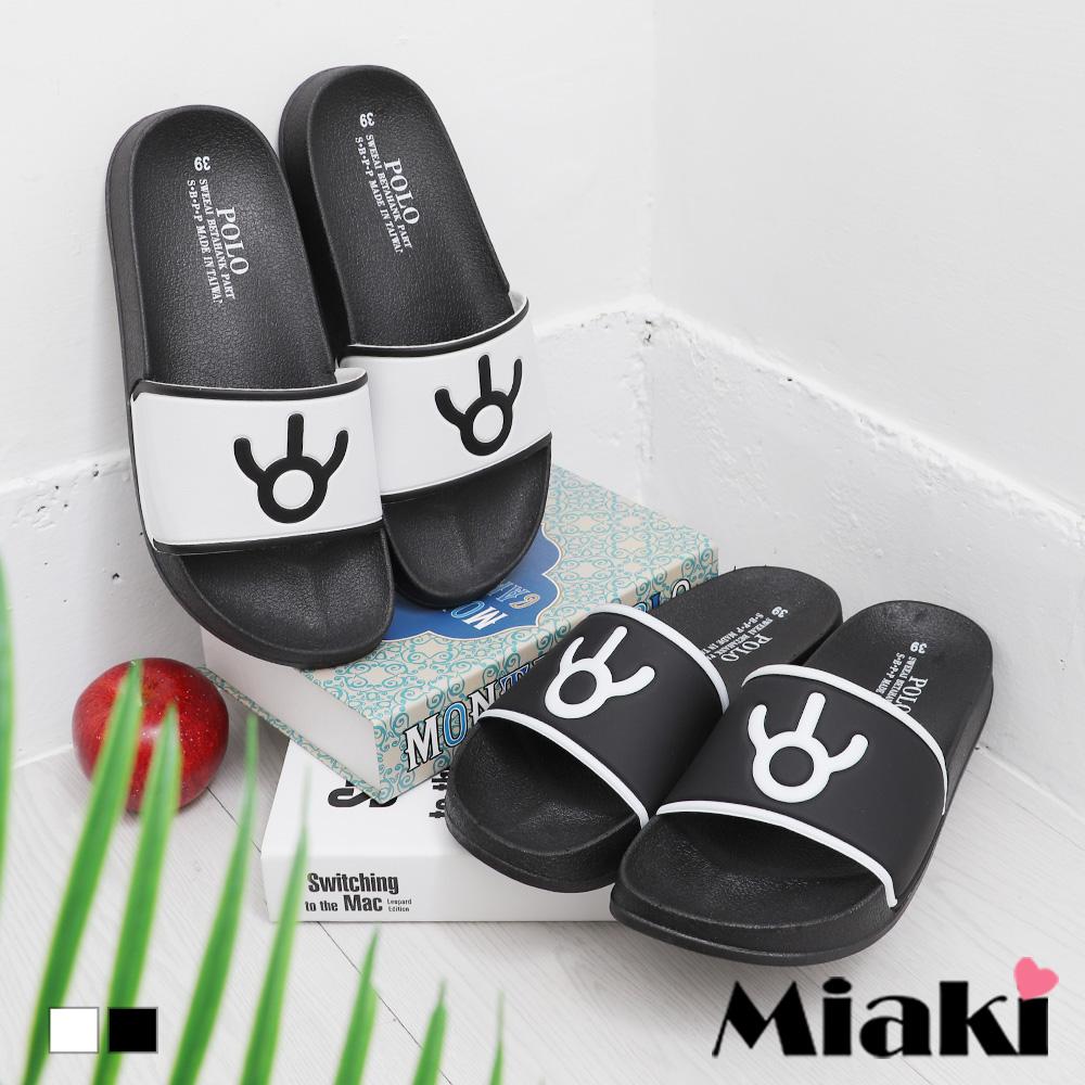 【Miaki】拖鞋.簡約時尚平底涼拖 (白色 / 黑色)