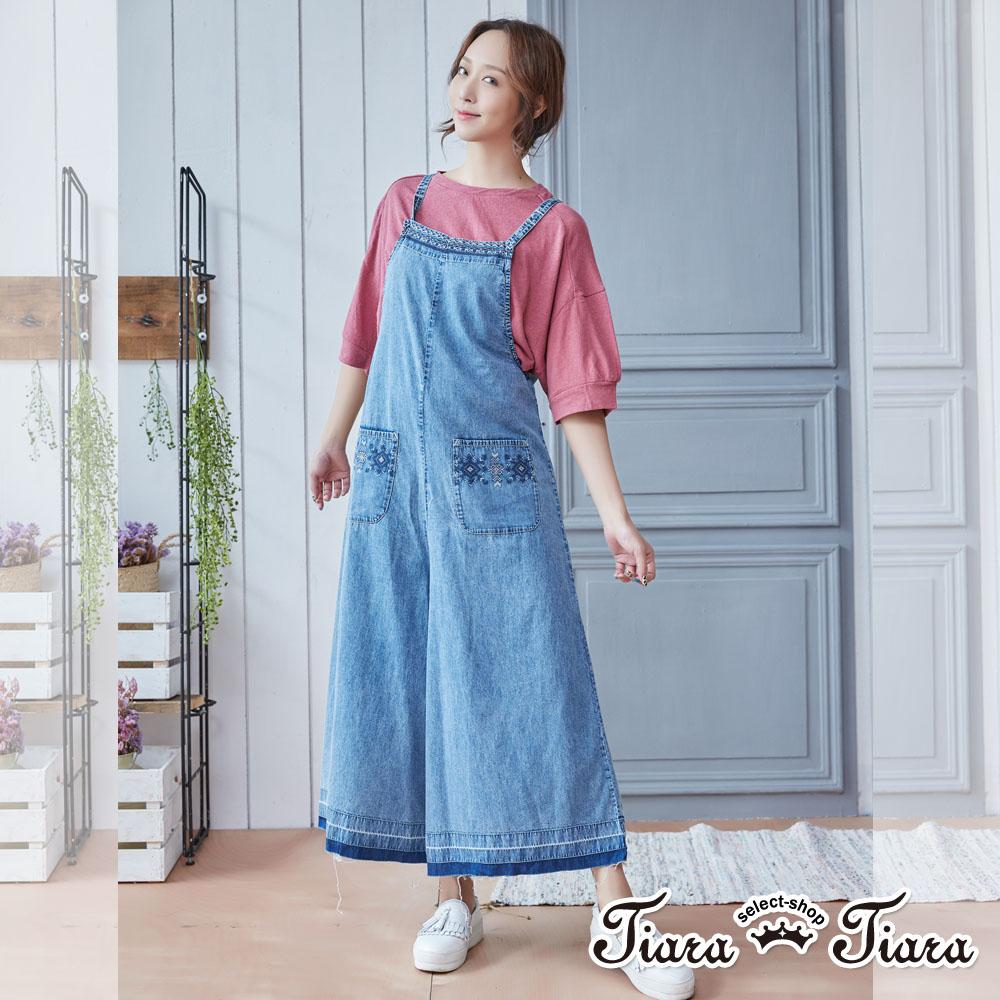 【Tiara Tiara】緹花牛仔連身吊帶褲(淺藍) 新品穿搭