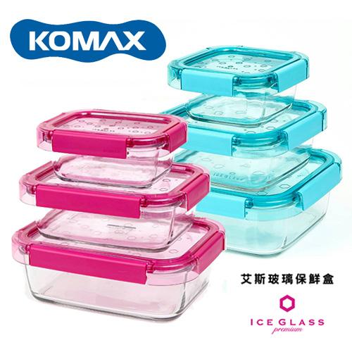 【KOMAX】艾斯長型玻璃保鮮盒3件組(385ml+820ml+1220ml)-兩色任選