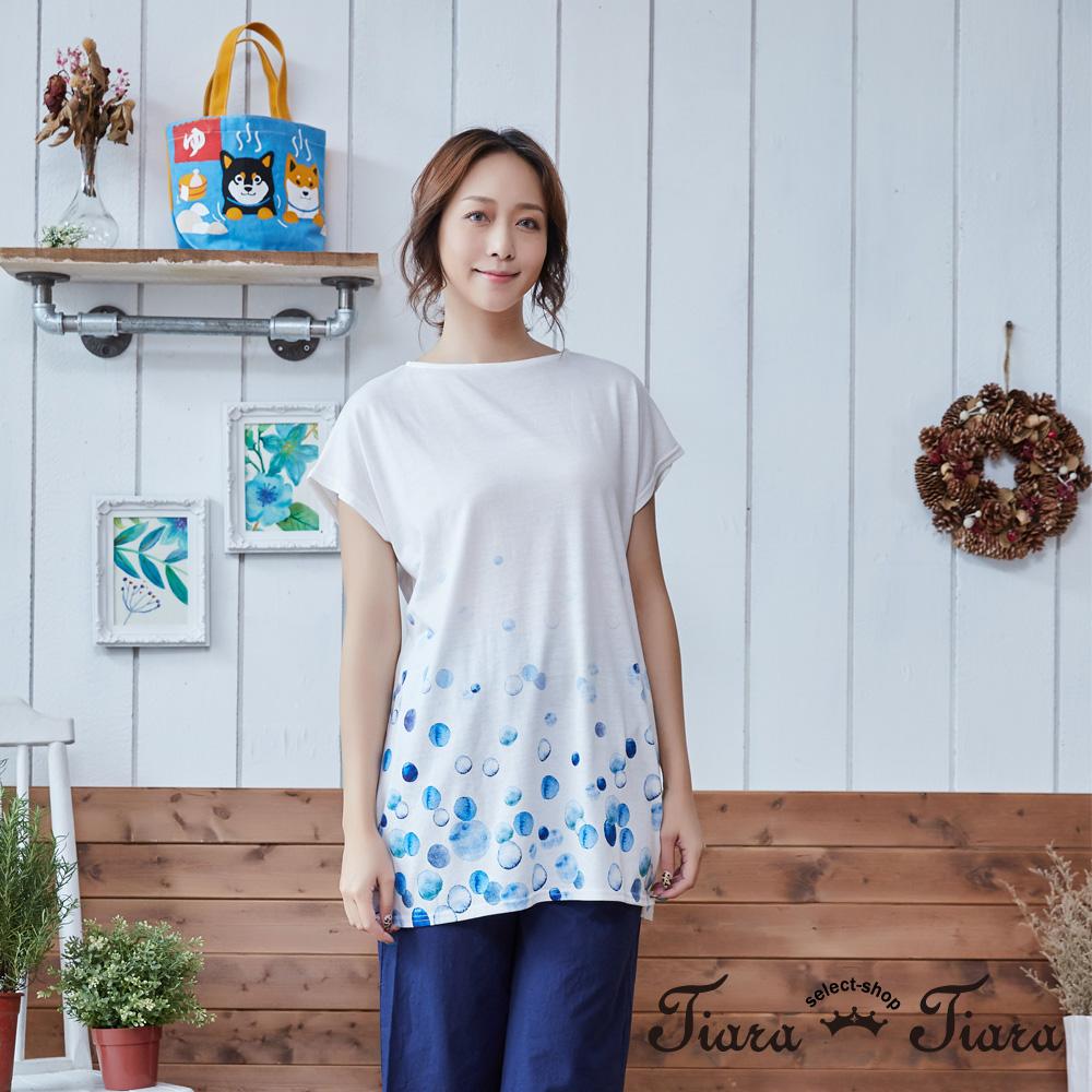 【Tiara Tiara】漂浮氣泡短袖上衣短洋裝(白/灰)