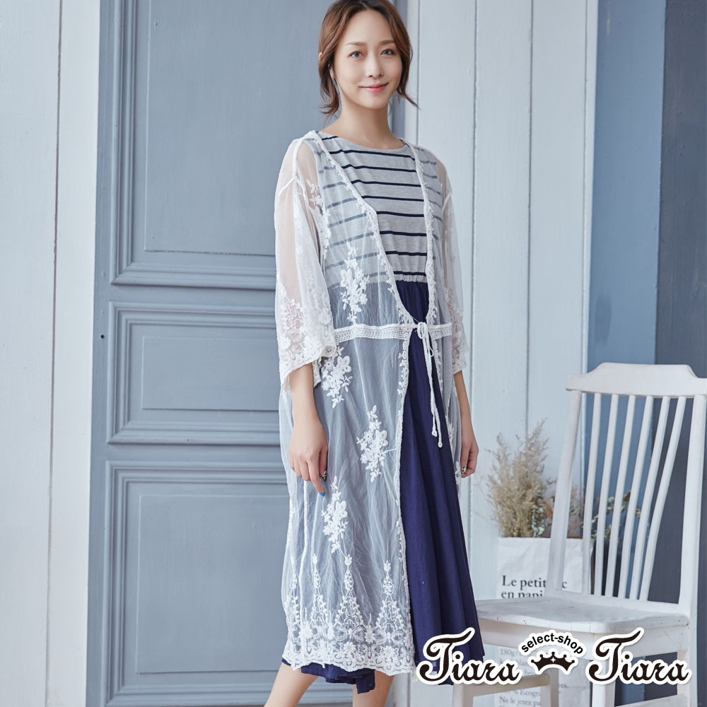 【Tiara Tiara】優雅緹花薄透長版罩衫(白)