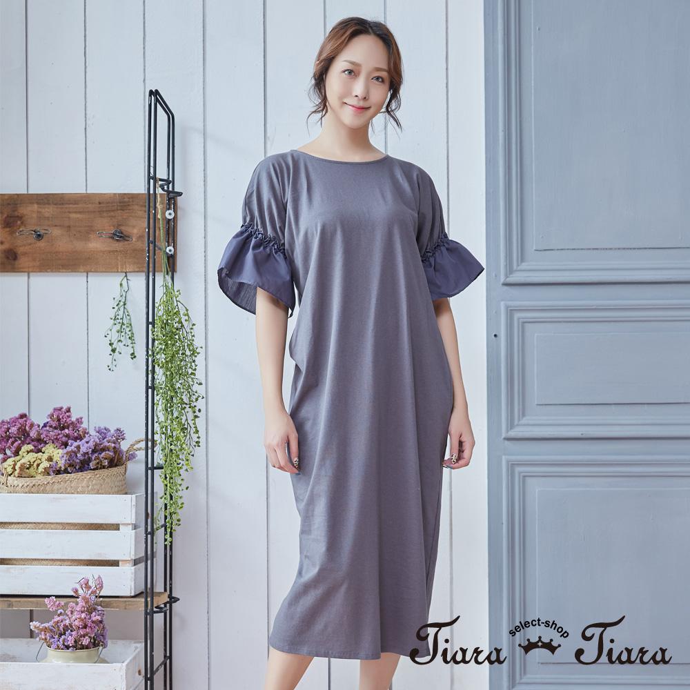 【Tiara Tiara】簡約泡泡袖長洋裝(藍/灰)