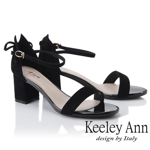 Keeley Ann簡約一字帶 素面麂皮環扣高跟涼鞋(黑色)(922772610-Ann系列)