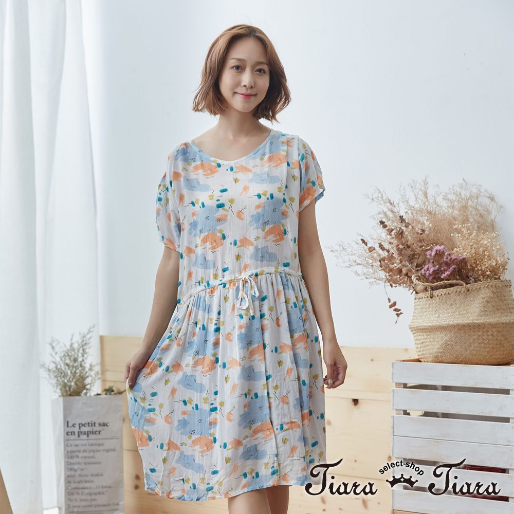 【Tiara Tiara】花語印象腰綁帶短袖洋裝(米)