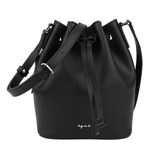 agnes b.-立體銀小b logo 皮革束口斜背水桶包(黑)mini
