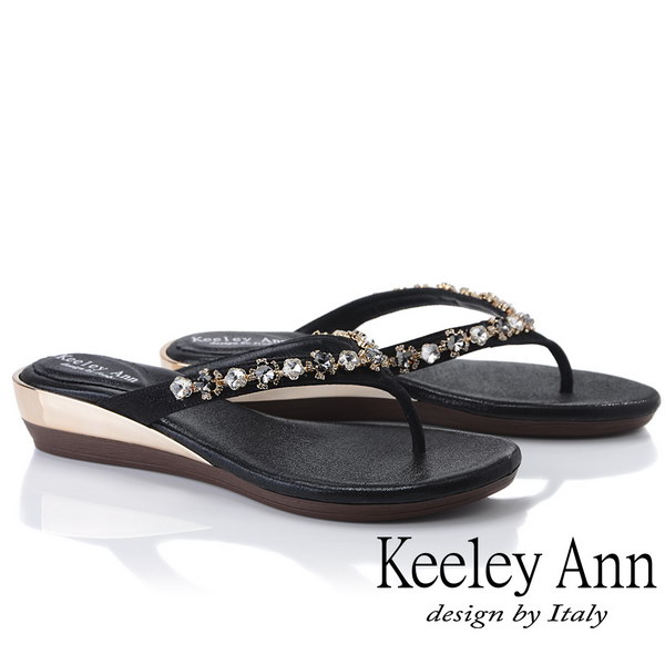 Keeley Ann氣質名媛 MIT夾腳人字寶石平底拖鞋(黑色931008110)