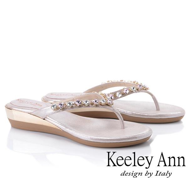 Keeley Ann氣質名媛 MIT夾腳人字寶石平底拖鞋(粉紅色931008156)