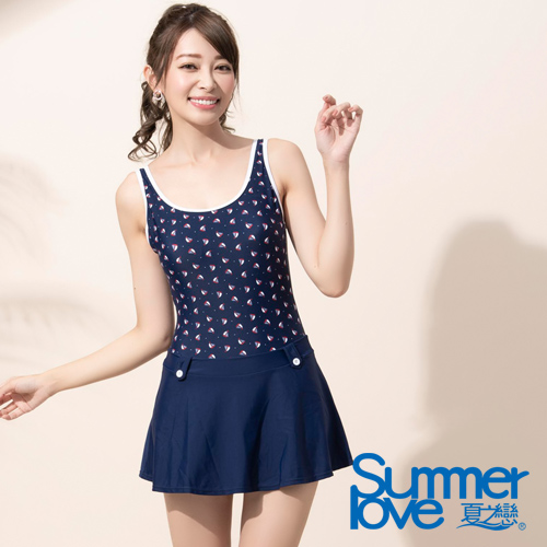 【夏之戀SUMMERLOVE】大女連身帶裙泳衣E17789