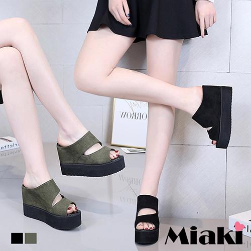 【Miaki】楔型鞋.韓妞時尚厚底拖鞋 (黑色 / 綠)