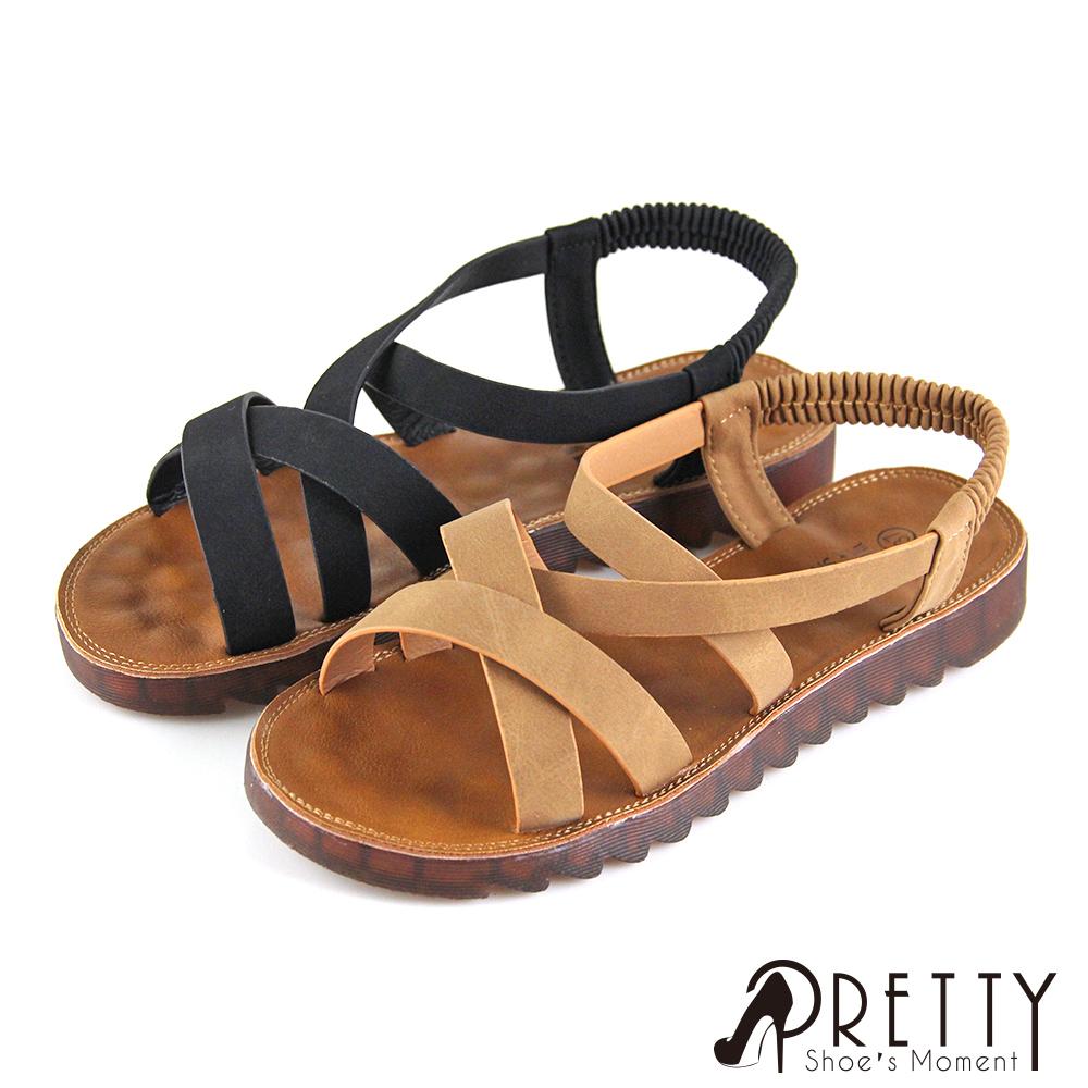 【Pretty】素面一字交叉線條後鬆緊帶平底涼鞋
