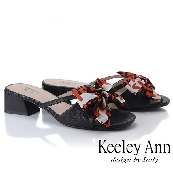 Keeley Ann細條帶 緞帶蝴蝶結低跟拖鞋(黑色921772210-Ann系列)
