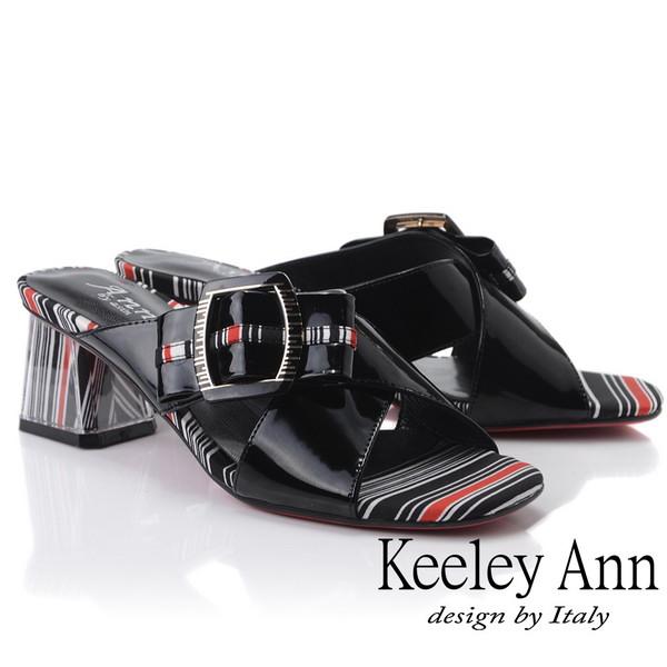 Keeley Ann造型透視跟 條紋撞色交叉中跟拖鞋(黑色921932510-Ann系列)