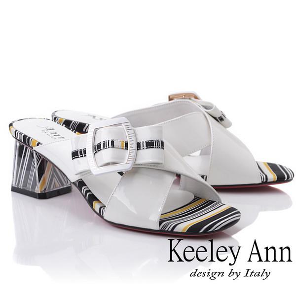 Keeley Ann造型透視跟 條紋撞色交叉中跟拖鞋(白色921932540-Ann系列)