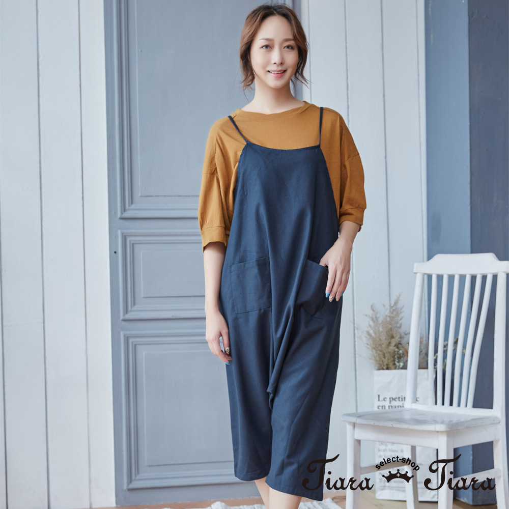 【Tiara Tiara】細肩帶復古風漁夫吊帶褲(藍/綠)