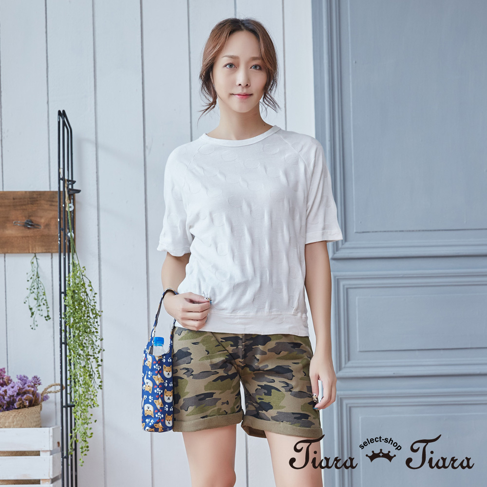 【Tiara Tiara】大圓點壓印風純棉短袖上衣(白/藍)