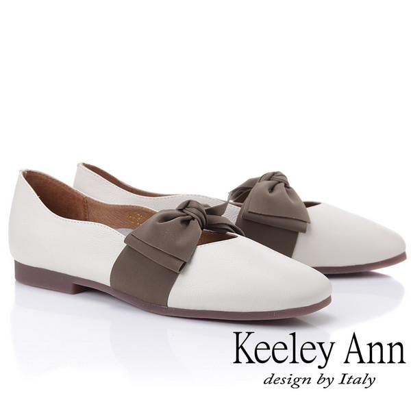 Keeley Ann慵懶盛夏 真皮荔枝紋甜美蝴蝶結包鞋(白色925772240-Ann系列)