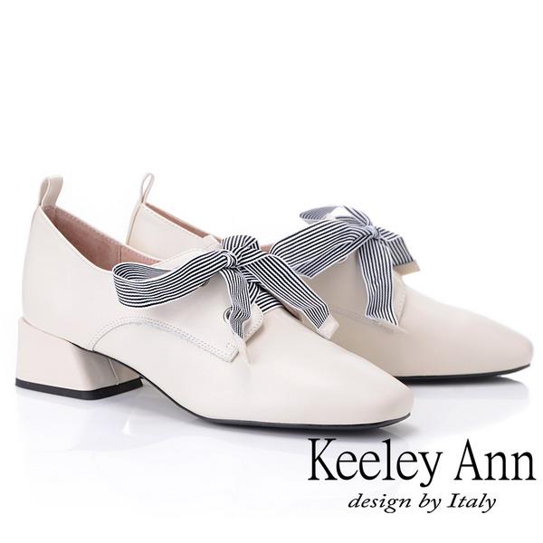 Keeley Ann慵懶盛夏 復古蝴蝶結小方頭包鞋(米白色925772432-Ann系列)