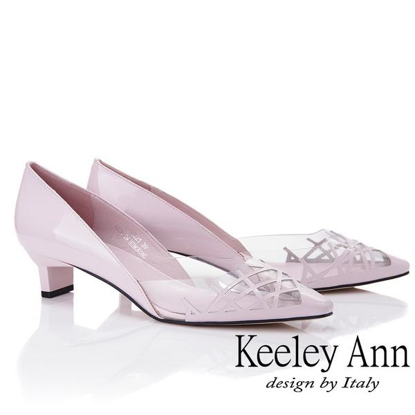 Keeley Ann時尚膠片 側邊簍空低跟包鞋(粉紅色925932156-Ann系列)