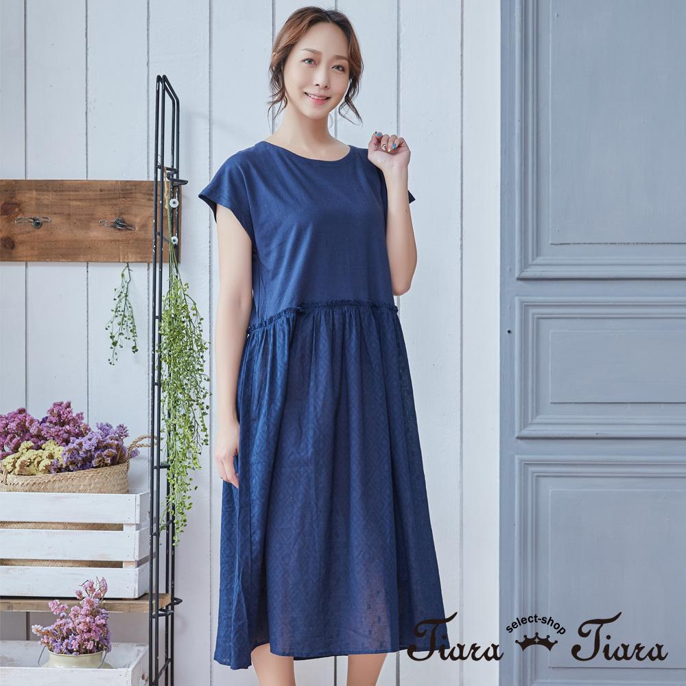【Tiara Tiara】假兩件式短袖寬版洋裝(藍/綠)