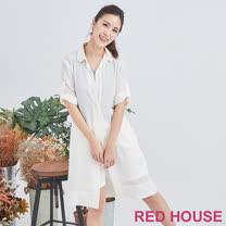 Red House 蕾赫斯-素色長版雪紡襯衫(杏色)